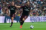 A.C. Milan Davide Calabria and Gonzalo Higuain during Santiago Bernabeu Trophy match at Santiago Bernabeu Stadium in Madrid, Spain. August 11, 2018. (ALTERPHOTOS/Borja B.Hojas)