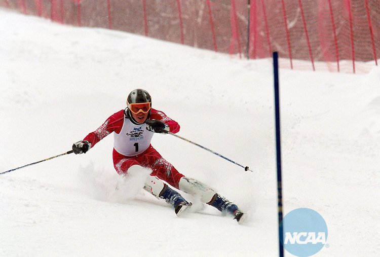 10 MAR 2001: Jernej Bukovec of the University of Utah races to a first place finish in the men's slalom at the 2001 NCAA Skiing Championships held at the Middlebury Snow Bowl at Middlebury University in Middlebury, VT.   Bukovec placed first to win the national championship.  Denver University won the overall team title.©Alden Pellett/NCAA Photos