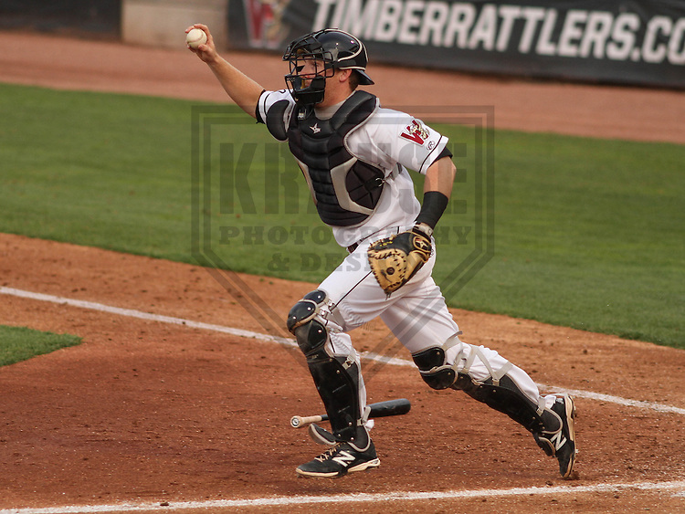 Wisconsin Timber Rattlers catcher Gregory McCall (21) during a game against the Cedar Rapids Kernels on May 4th, 2015 at Fox Cities Stadium in Appleton, Wisconsin.  Cedar Rapids defeated Wisconsin 9-3.  (Brad Krause/Krause Sports Photography)
