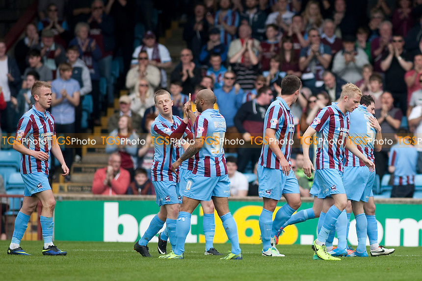 Matthew Sparrow of Scunthorpe U wheels away after scoring the only goal<br />  - Scunthorpe United vs Oxford United - Sky Bet League Two Football at Glanford Park, Scunthorpe - 21/04/14 - MANDATORY CREDIT: Mark Hodsman/TGSPHOTO - Self billing applies where appropriate - 0845 094 6026 - contact@tgsphoto.co.uk - NO UNPAID USE