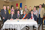 Twinning: At the singning of a twinning agreement between Listowel and The Mountainous Region of Muscel,  Romania  at the Listowel Arms Hotel on Saturday night last were in front Gerry Duggan, Mayor Of Listowel Tom Walsh, Presdient Of The Muscel Region, Leonard Soare & Ion Naftanala...Back: Michael O'Connor, Joan Walsh. Cara Trant, Gabriel Grigore, Michaela Neagoe, Dancsa Eugen, Constantine Balea, Norella Flynn  and Mike Sheehy.