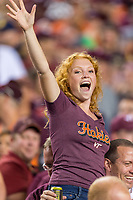 Landover, MD - SEPT 3, 2017: Virginia Tech Hokies fan are pumped after a touchdown late in the second quarter during game between West Virginia and Virginia Tech at FedEx Field in Landover, MD. (Photo by Phil Peters/Media Images International)