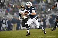 STATE COLLEGE, PA - NOVEMBER 24: Penn State QB Trace McSorley (9) runs away from two Maryland defenders for his second rushing touchdown of the first half during the Maryland Terrapins vs. the Penn State Nittany Lions November 24, 2018 at Beaver Stadium in State College, PA. (Photo by Randy Litzinger/Icon Sportswire)