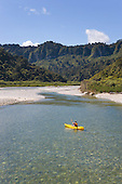 Kayaking on the Fox River, Buller district, West Coast, South Island, New Zealand.