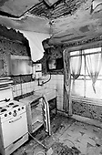 Kitchen in a house on Walterton Estate in North Paddington, London, before refurbishment by the resident-controlled Walterton and Elgin Community Homes, the resident-controlled housing association which took over the estate from Westminster Council.