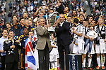 01 December 2012: MLS commissioner presents the Philip F. Anschutz Trophy to Galaxy owner Philip F. Anschutz. The Los Angeles Galaxy played the Houston Dynamo at the Home Depot Center in Carson, California in MLS Cup 2012. Los Angeles won the game 3-1.