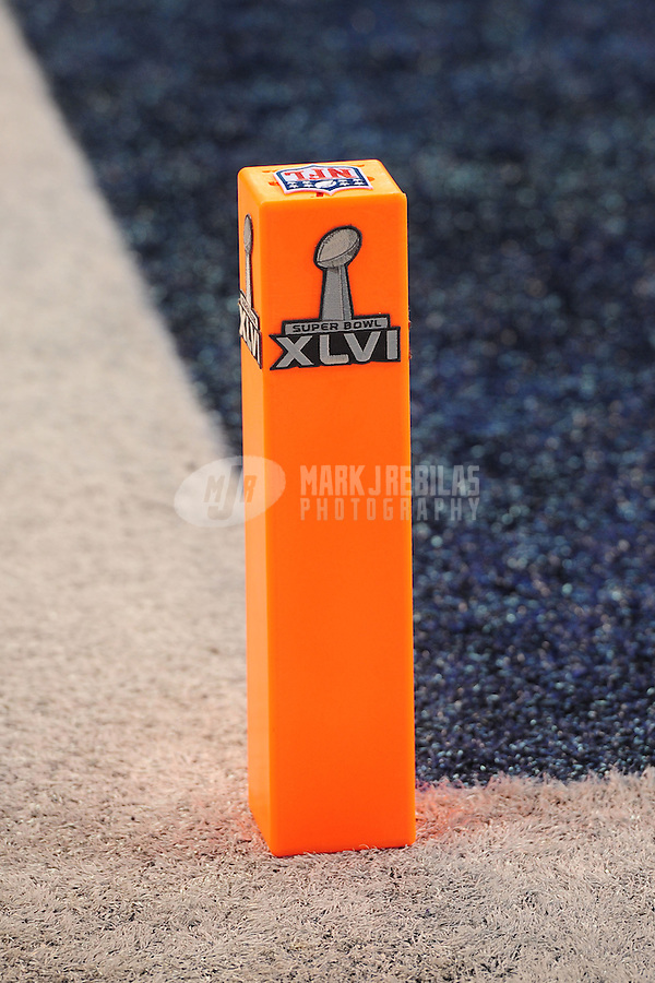 Feb 5, 2012; Indianapolis, IN, USA; Detail view of the endzone pylon with the NFL logo and the Super Bowl logo before Super Bowl XLVI between the New York Giants and the New England Patriots at Lucas Oil Stadium.  Mandatory Credit: Mark J. Rebilas-