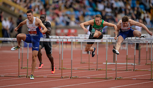 26.06.2016. Alexander Stadium, Birmingham, England. British Athletics Championships. Andrew Pozzi on his way to winning the 110m Hurdles.