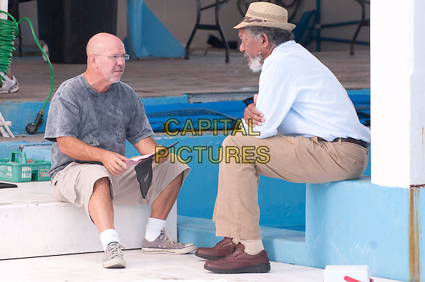 Director CHARLES MARTIN SMITH & MORGAN FREEMAN .on the set of Dolphin Tale.*Filmstill - Editorial Use Only*.CAP/FB.Supplied by Capital Pictures.