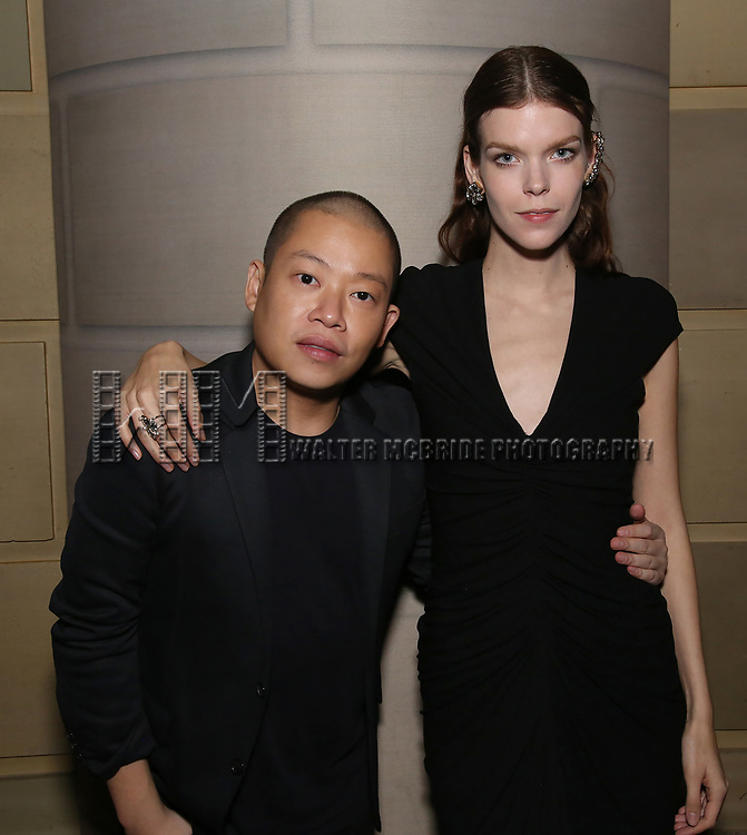 Jason Wu and Meghan Collinson  attend 2017 Dramatists Guild Foundation Gala reception at Gotham Hall on November 6, 2017 in New York City.