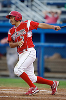 Batavia Muckdogs shortstop Alex Mejia #3 during a game against the Lowell Spinners at Dwyer Stadium on July 7, 2012 in Batavia, New York.  Batavia defeated Lowell 3-0.  (Mike Janes/Four Seam Images)