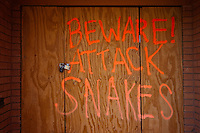 """Beware! Attack Snakes"" spray painted on the temporary front door of a home in the Lakeview area that suffered major damage due to Hurricane Katrina flooding in New Orleans, Louisiana. Many of these homes' interiors remain untouched; floors are covered in flood debris and rubble while the walls and surfaces are still scab-covered layers of mold."