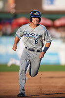 West Michigan Whitecaps right fielder Brady Policelli (6) runs the bases during a game against the Kane County Cougars on July 19, 2018 at Northwestern Medicine Field in Geneva, Illinois.  Kane County defeated West Michigan 8-5.  (Mike Janes/Four Seam Images)