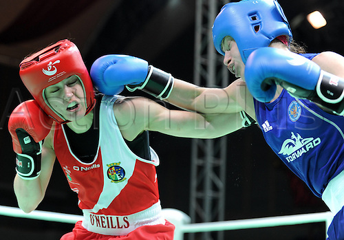 19.05.2012. Qinhuangdao China.  Gold medalist Katie Taylor of Ireland clashes with Sofya  of Russia during the womens 60kg Final at the AIBA Elite Women World Championship in Qinhuangdao North Chinas Hebei Province May 19 2012