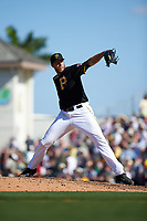 Pittsburgh Pirates relief pitcher John Holdzkom (43) delivers a pitch during a Spring Training game against the Boston Red Sox on March 9, 2016 at McKechnie Field in Bradenton, Florida.  Boston defeated Pittsburgh 6-2.  (Mike Janes/Four Seam Images)
