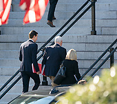 January 6, 2019 - Washington, DC, United States: Senior Advisor Jared Kushner, United States Vice President Mike Pence and United States Secretary of Homeland Security (DHS) Kirstjen Nielsen walk to the Eisenhower Executive Office Building to continue negations with Democratic staff members to end the government shutdown. (Chris Kleponis / Polaris)Senior Advisor Jared Kushner, US Vice President Mike Pence and US Secretary of Homeland Security (DHS) Kirstjen Nielsen walk up the steps of the Eisenhower Executive Office Building in Washington, DC to continue negations with Democratic staff members to end the government shutdown on Sunday, January 6, 2019.<br /> Credit: Chris Kleponis / Pool via CNP Note: dpa Picture-Alliance OUT