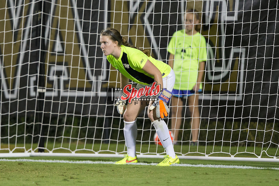 Lindsay Preston (1) of the Wake Forest Demon Deacons prepares to defend against a penalty kick during second half action against the UCLA Bruins at Spry Soccer Stadium on September 11, 2015 in Winston-Salem, North Carolina.  The Bruins defeated the Demon Deacons 2-1.  (Brian Westerholt/Sports On Film)