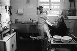 Winter of Discontent London. Those hospital patients who are able to work in their ward kitchens as staff are on strike.  1979.