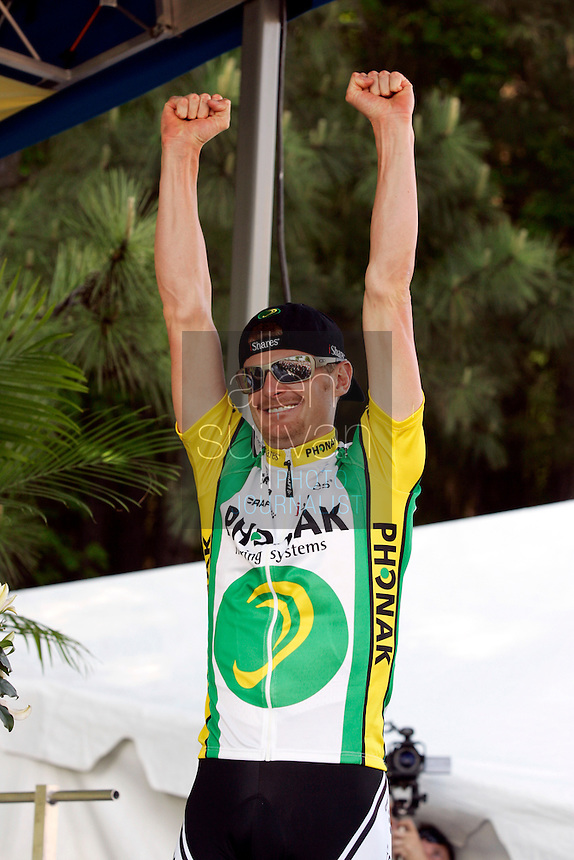 Floyd Landis, of Phonak Hearing Systems, celebrates winning the 2006 Ford Tour de Georgia in Alpharetta after Stage 6 on Sunday, April 23, 2006. Juan Jos&eacute; Haedo of Toyota-United Pro won the 118.2-mile (190.2-km) stage from Cumming to Alpharetta.<br />