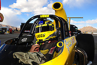 Apr. 1, 2012; Las Vegas, NV, USA: NHRA super comp driver Jeg Coughlin celebrates after winning the Summitracing.com Nationals at The Strip in Las Vegas. Mandatory Credit: Mark J. Rebilas-