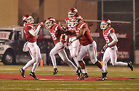 NWA Democrat-Gazette/MICHAEL WOODS • University of Arkansas defensive back Kevin Richardson II (30 celebrates with teammates after an interception in the 3rd quarter of Saturday nights game at Razorback Stadium November 21, 2015.