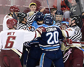 Patrick Wey (BC - 6), Isaac MacLeod (BC - 7), Chris Aughe, Mike Banwell (Maine - 4), Kelen Corkum (Maine - 20), Mike Cornell (Maine - 2), Joe Whitney (BC - 15), Bryan Goodwin. - The Boston College Eagles defeated the visiting University of Maine Black Bears 4-0 on Friday, November 19, 2010, at Conte Forum in Chestnut Hill, Massachusetts.