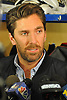 Henrik Lundqvist #30, New York Rangers goalie, speaks to the media at Madsion Square Garden Training Center in Greenburgh, NY on Thursday, May 11, 2017. The Rangers' season ended on Tuesday, May 9 when the team lost to the Ottawa Senators four games to two in the second round of the Stanley Cup Playoffs.