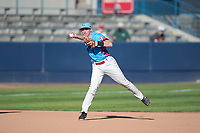 Spokane Indians shortstop Jax Biggers (1) prepares to make a throw to first base during a Northwest League game against the Vancouver Canadians at Avista Stadium on September 2, 2018 in Spokane, Washington. The Spokane Indians defeated the Vancouver Canadians by a score of 3-1. (Zachary Lucy/Four Seam Images)