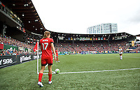 Portland, Oregon - Sunday October 2, 2016: Portland Thorns FC midfielder Tobin Heath (17) takes a corner kick during a semi final match of the National Women's Soccer League (NWSL) at Providence Park.