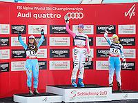 08.02.2013, Planai, Schladming, AUT, FIS Weltmeisterschaften Ski Alpin, Super Kombination, Slalom, Siegerpraesentation, im Bild ina Maze (SLO, 2. Platz), Maria Hoefl-Riesch (GER, 1. Platz), Nicole Hosp (AUT, 3. Platz) // 2nd place Tina Maze of Slovenia, 1st place Maria Hoefl-Riesch of Germany, 3rd place Nicole Hosp of Austria on Winners Presentation after Ladies Super Combined Slalom at the FIS Ski World Championships 2013 at the Planai Course, Schladming, Austria on 2013/02/08. EXPA Pictures © 2013, PhotoCredit: EXPA/ Sammy Minkoff ..Schladming 8/2/2013 .Mondiali Sci 2013.Combinata Donne.Foto Insidefoto - ITALY ONLY