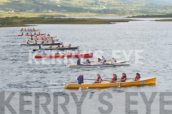 Action from the start of the girls U14 race at the Waterville Regatta on Sunday.