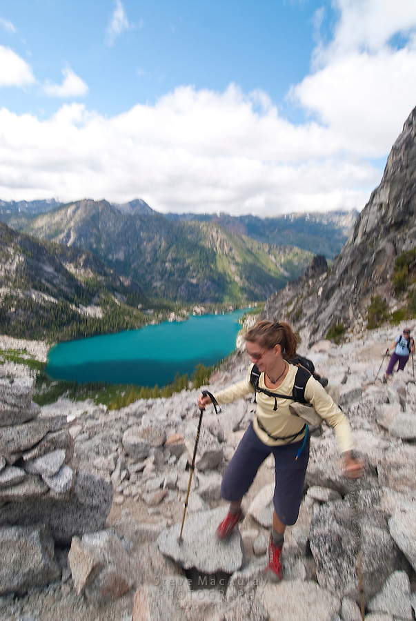 Hiking the steep trail up Asgard Pass, enroute to the Enchantments, Alpine Lakes Wilderness, WA.
