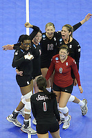 Omaha, NE - DECEMBER 20:  Middle blocker Foluke Akinradewo #16, setter Joanna Evans #3, outside hitter Erin Waller #12, libero Gabi Ailes #9, outside hitter Alix Klineman #10, and outside hitter Cynthia Barboza #1 of the Stanford Cardinal during Stanford's 20-25, 24-26, 23-25 loss against the Penn State Nittany Lions in the 2008 NCAA Division I Women's Volleyball Final Four Championship match on December 20, 2008 at the Qwest Center in Omaha, Nebraska.