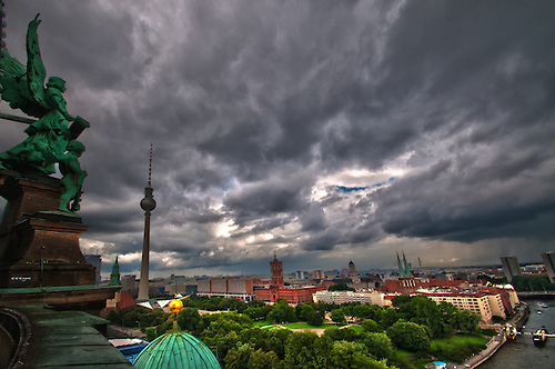 A strom cominginthe center of Berlin. shot from the top of the Berliner Dom.