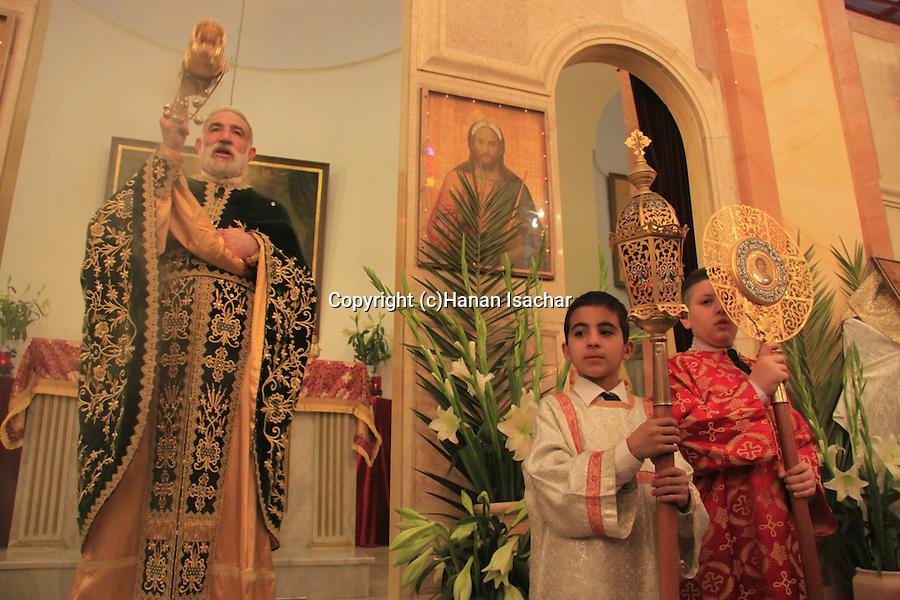 Israel, Nazareth, Abouna Emile Shoufani at the Greek Catholic Church on Palm Sunday