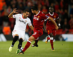 Wissam Ben Yedder of Sevilla and Emre Can of Liverpool during the Champions League Group E match at the Anfield Stadium, Liverpool. Picture date 13th September 2017. Picture credit should read: Simon Bellis/Sportimage