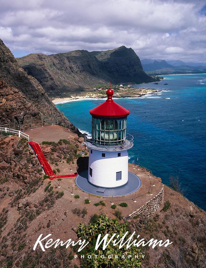 Makapuu Lighthouse, Aerial View, Oahu, Hawaii, USA.