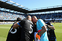 San Jose, CA - Saturday July 29, 2017: San Jose Earthquakes huddle prior to a Major League Soccer (MLS) match between the San Jose Earthquakes and Colorado Rapids at Avaya Stadium.