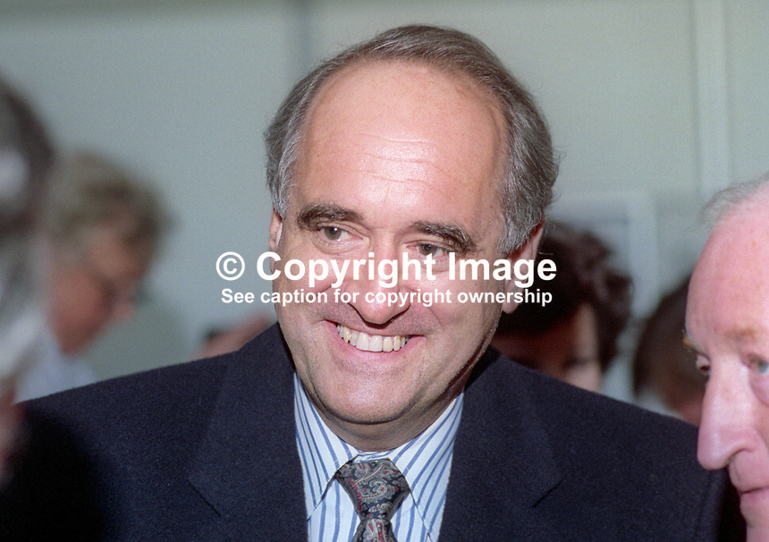 Brian Mawhinney, MP, Minister of State for Health, Conservative Party, UK, born N Ireland, October, 1993, later Baron Mawhinney, 1993104903<br /> <br /> Copyright Image from Victor Patterson, 54 Dorchester Park, Belfast, UK, BT9 6RJ<br /> <br /> t1: +44 28 9066 1296 (from Rep of Ireland 048 9066 1296)<br /> t2: +44 28 9002 2446 (from Rep of Ireland 048 9002 2446)<br /> m: +44 7802 353836<br /> <br /> e1: victorpatterson@me.com<br /> e2: victorpatterson@gmail.com<br /> <br /> The use of any of my copyright images is subject to my Terms &amp; Conditions. It is IMPORTANT that you familiarise yourself with them. They are available at my website, victorpatterson.com.<br /> <br /> None of my copyright images may be used on the Internet unless they are visibly watermarked, i.e. &copy; Victor Patterson within the body of the image. My metadata, denoting my copyright must NOT be deleted. <br /> <br /> Web use is extra at currently recommended NUJ rates. Maximum permitted web size is<br />  400kb. <br /> <br /> Images must not be passed on to a third party - they are for the use of the authorised recipient only.