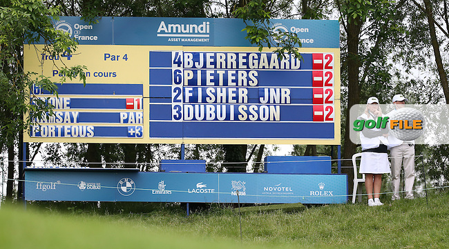 Lucas Bjerregaard (DEN) inspired by his hole-in-one leading the field during Round One of the 100th Open de France, played at Le Golf National, Guyancourt, Paris, France. 30/06/2016. Picture: David Lloyd | Golffile.<br /> <br /> All photos usage must carry mandatory copyright credit (&copy; Golffile | David Lloyd)