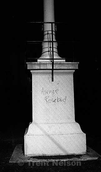 &quot;Avenge Rosebud&quot; written on post at Rosebud protest<br />