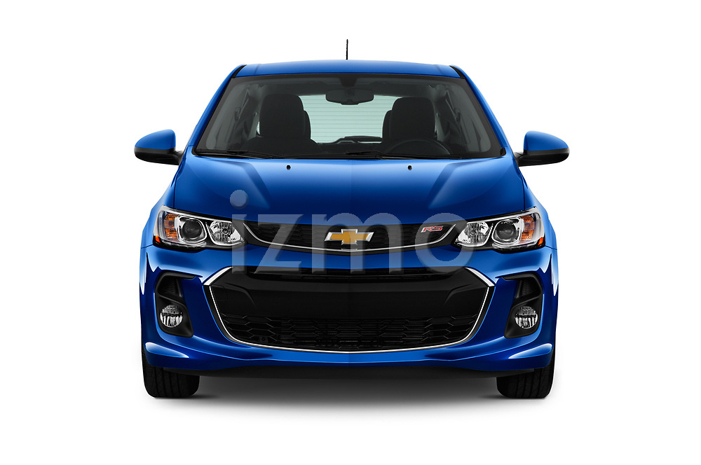 Car photography straight front view of a 2019 Chevrolet Sonic LT-RS-Automatic Door Hatchback Front View