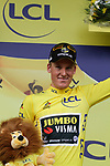 Mike Theunison (BEL) Team Jumbo-Visma wins Stage 1 and wears the first leaders Yellow Jersey of the 2019 Tour de France running 194.5km from Brussels to Brussels, Belgium. 6th July 2019.<br /> Picture: Colin Flockton | Cyclefile<br /> All photos usage must carry mandatory copyright credit (© Cyclefile | Colin Flockton)