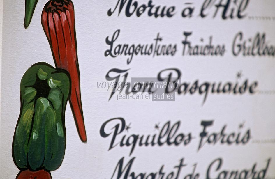"""Europe/France/Aquitaine/64/Pyrénées-Atlantiques/Biarritz: Détail d'un menu peint """"Thon basquaise"""", piments et poivrons"""