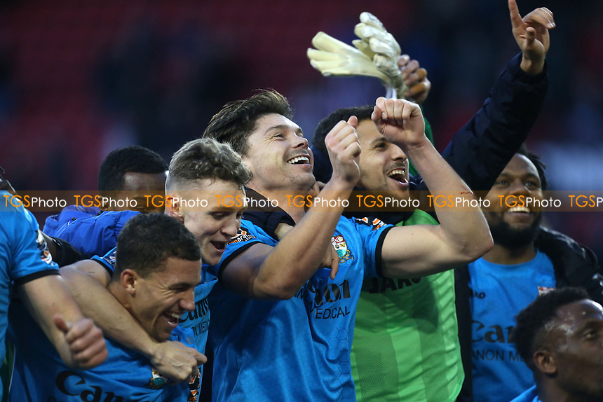 Craig Robson of Barnet leads the celebrations after Sheffield United vs Barnet, Emirates FA Cup Football at Bramall Lane on 6th January 2019
