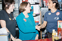 Democratic presidential candidate and Minnesota senator Amy Klobuchar poses for a picture with employees at the Red Arrow Diner during a campaign stop in Manchester, New Hampshire, on Wed., October 16, 2019. The event was part of a 10-county tour of New Hampshire and started the day after the 4th Democratic debate, in which analysts said Klobuchar performed well. <br />  The Red Arrow Diner has been a frequent stop for presidential candidates in New Hampshire for decades.