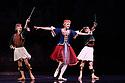 Les Ballets Trockadero de Monte Carlo (The Trocks) return to the UK and recives their Ireland premiere during an eight-wekk, twelve venue tour, that opens at the Peacock , London, on 12th September, and concludes at the Grand Opera House, Belfast, on 3rd November. the dancers are: Joshua Thake (Eugenia Repelski), Jack Furlong Jr (Guzella Verbitskaya), Alberto Pretto (Nina Immobilashvili), Roberto Vega (Mikhail Mypansarov), Kevin Garcia (Sergey Legupski), Duane Gosa (Helen Highwaters). Picture shows: Roberto Vega, Joshua Thake, Kevin Garcia in La Trovatiara Pas de Cinq.