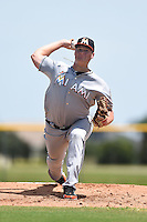 GCL Marlins starting pitcher Tyler Kolek (34) delivers a warmup pitch during a game against the GCL Nationals on June 28, 2014 at the Carl Barger Training Complex in Viera, Florida.  GCL Nationals defeated the GCL Marlins 5-0.  (Mike Janes/Four Seam Images)