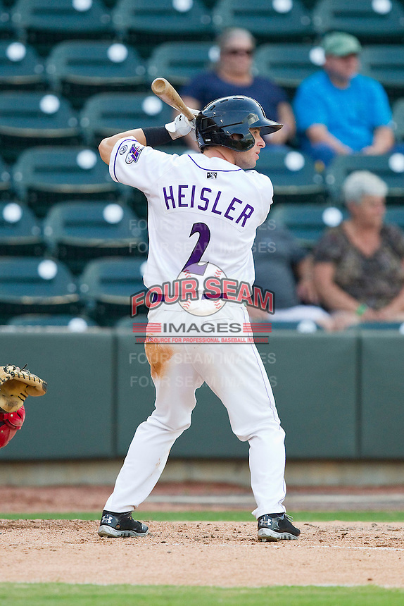 Adam Heisler (2) of the Winston-Salem Dash at bat against the Potomac Nationals at BB&T Ballpark on July 8, 2013 in Winston-Salem, North Carolina.  The Dash defeated the Nationals 12-9.  (Brian Westerholt/Four Seam Images)