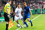 10.08.2019, wohninvest Weserstadion, Bremen, GER, DFB-Pokal, 1. Runde, SV Atlas Delmenhorst vs SV Werder Bremen<br /> <br /> DFB REGULATIONS PROHIBIT ANY USE OF PHOTOGRAPHS AS IMAGE SEQUENCES AND/OR QUASI-VIDEO.<br /> <br /> im Bild / picture shows<br /> <br /> Marvin Osei (SV Atlas Delmenhorst #24)<br /> Marco Friedl (Werder Bremen #32)<br /> Foto © nordphoto / Kokenge